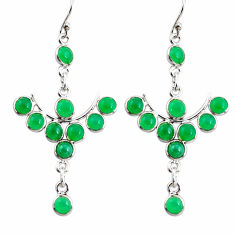10.67cts natural green chalcedony 925 sterling silver dangle earrings r35769