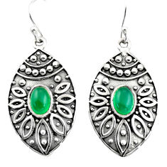 3.12cts natural green chalcedony 925 sterling silver dangle earrings r38046