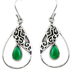 4.94cts natural green chalcedony 925 sterling silver dangle earrings r38105