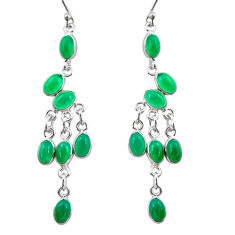 12.65cts natural green chalcedony 925 sterling silver dangle earrings r38665