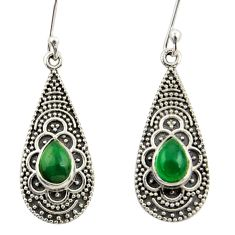 3.83cts natural green chalcedony 925 sterling silver dangle earrings r42066