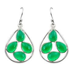 10.15cts natural green chalcedony 925 sterling silver dangle earrings r42282