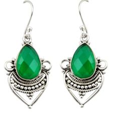 7.09cts natural green chalcedony 925 sterling silver dangle earrings r42311