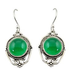 8.44cts natural green chalcedony 925 sterling silver dangle earrings r42321