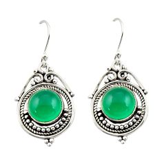 8.03cts natural green chalcedony 925 sterling silver dangle earrings r42322