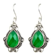 8.34cts natural green chalcedony 925 sterling silver dangle earrings r42341