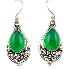8.49cts natural green chalcedony 925 sterling silver dangle earrings r42342