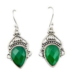 8.02cts natural green chalcedony 925 sterling silver dangle earrings r42362