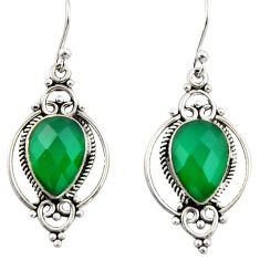 8.49cts natural green chalcedony 925 sterling silver dangle earrings r42364