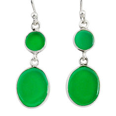 9.12cts natural green chalcedony 925 sterling silver dangle earrings r88169