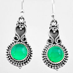 5.47cts natural green chalcedony 925 sterling silver dangle earrings t26802
