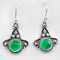2.53cts natural green chalcedony 925 sterling silver dangle earrings t26821