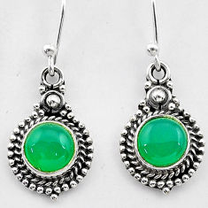 2.61cts natural green chalcedony 925 sterling silver dangle earrings t26862