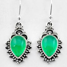 4.71cts natural green chalcedony 925 sterling silver dangle earrings t26882