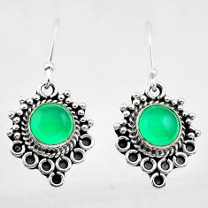 2.55cts natural green chalcedony 925 sterling silver dangle earrings t26901