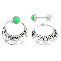 1.62cts natural green chalcedony 925 sterling silver dangle stud earrings r71183