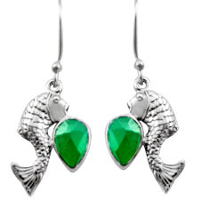 4.52cts natural green chalcedony 925 sterling silver fish earrings d46917