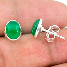 3.38cts natural green chalcedony 925 sterling silver stud earrings t29241