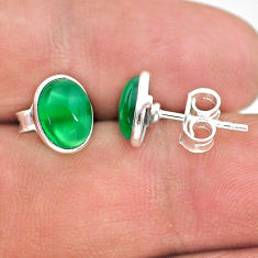 3.79cts natural green chalcedony 925 sterling silver stud earrings t29282