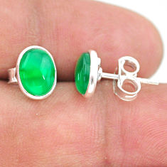 3.73cts natural green chalcedony 925 sterling silver stud earrings t29301