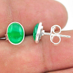 3.46cts natural green chalcedony 925 sterling silver stud earrings t29322