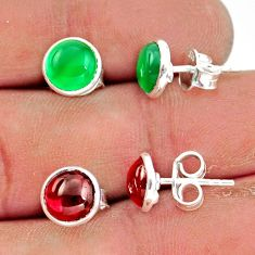 5.57cts natural green chalcedony garnet 925 sterling silver stud earrings r41222