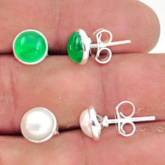 5.86cts natural green chalcedony pearl 925 sterling silver stud earrings r41250