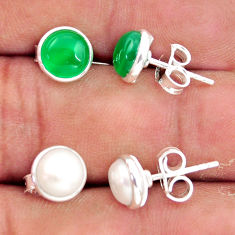 5.79cts natural green chalcedony pearl 925 sterling silver stud earrings r41257