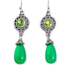 18.14cts natural green chalcedony peridot 925 silver dangle earrings r59841