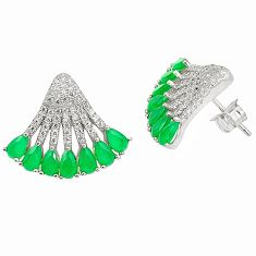 Natural green chalcedony topaz 925 sterling silver stud earrings c19370