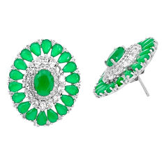 18.47cts natural green chalcedony topaz 925 sterling silver stud earrings c19580