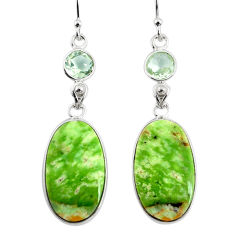 15.34cts natural green chrome chalcedony 925 silver dangle earrings r75578