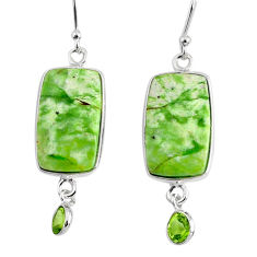 12.29cts natural green chrome chalcedony 925 silver dangle earrings r75681