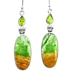 15.34cts natural green chrome chalcedony peridot 925 silver earrings r75590