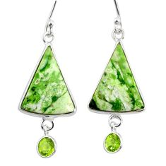 9.94cts natural green chrome chalcedony peridot 925 silver earrings r75593