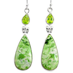 15.46cts natural green chrome chalcedony peridot 925 silver earrings r75598