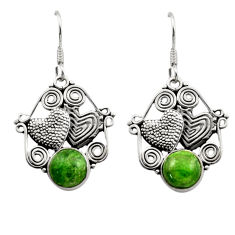green chrome diopside 925 silver couple hearts earrings d40790
