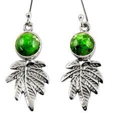 Clearance Sale- 6.85cts natural green chrome diopside 925 silver deltoid leaf earrings d39723