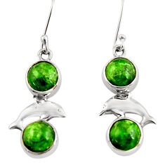 11.07cts natural green chrome diopside 925 silver dolphin earrings d39732