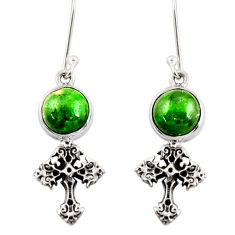 Clearance Sale- 6.54cts natural green chrome diopside 925 silver holy cross earrings d39739