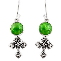 Clearance Sale- 6.07cts natural green chrome diopside 925 silver holy cross earrings d39919