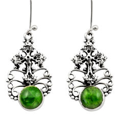 6.32cts natural green chrome diopside 925 silver holy cross earrings d40794