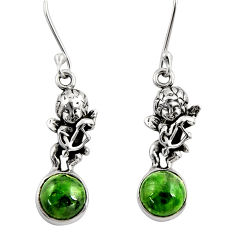 Clearance Sale- 6.85cts natural green chrome diopside 925 sterling silver angel earrings d39725