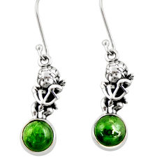 Clearance Sale- 6.85cts natural green chrome diopside 925 sterling silver angel earrings d39726