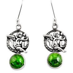 Clearance Sale- 6.54cts natural green chrome diopside 925 sterling silver angel earrings d39733