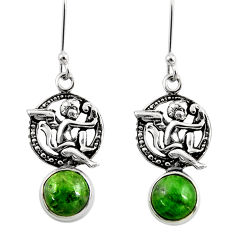 6.82cts natural green chrome diopside 925 sterling silver angel earrings d39736