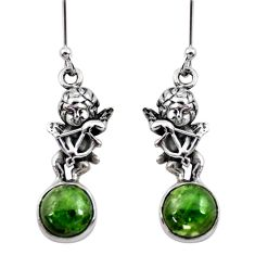6.36cts natural green chrome diopside 925 sterling silver angel earrings d40535