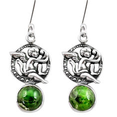 6.85cts natural green chrome diopside 925 sterling silver angel earrings d40536