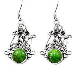5.96cts natural green chrome diopside 925 sterling silver angel earrings d40785