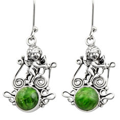 6.26cts natural green chrome diopside 925 sterling silver angel earrings d40789